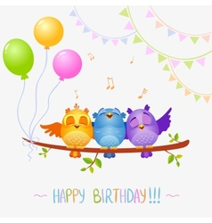 Birds sing birthday vector image