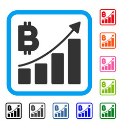 bitcoin growth trend framed icon vector image