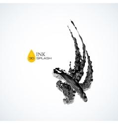 Black 3d ink or oil splash isolated on white vector