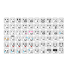 black set of smile icons emoji emoticons face vector image