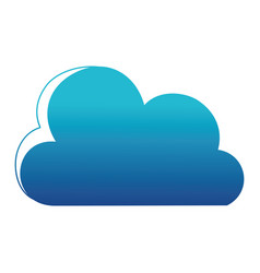 blue silhouette nice cloud nature weather icon vector image