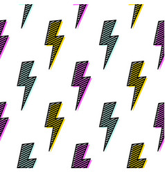 Bright lightning bolt seamless pattern fun design vector