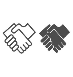 Business handshake line and glyph icon hands vector