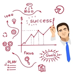 businessman writing on whiteboard with red marker vector image