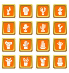 cactus icons set orange square vector image