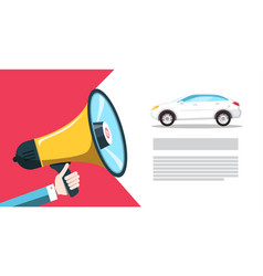 car dealer - seller announcement white sedan vector image