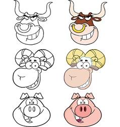 Cartoon animal heads vector