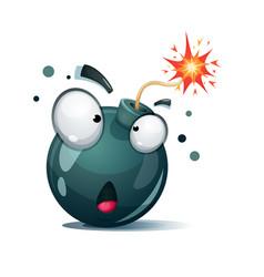 Cartoon bomb fuse wick spark icon surprise vector