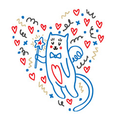 cartoon cat cupid with a pattern of hearts vector image