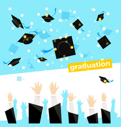celebrating a graduation banner with student hands vector image