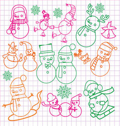 Christmas doodles with snowmen- vector image