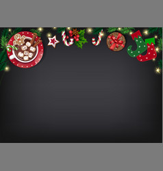 Christmas poster with gifts on chalkboard vector