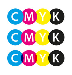 cmyk symbols cyan magenta yellow and black colors vector image