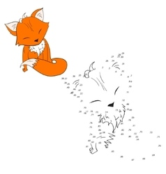 Connect dots game fox vector