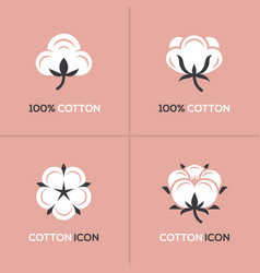 Cotton logo set vector