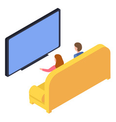 couple watching tv at home sitting on sofa vector image