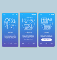 Crm subscription onboarding mobile app page vector