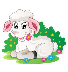 Cute lamb with flowers vector