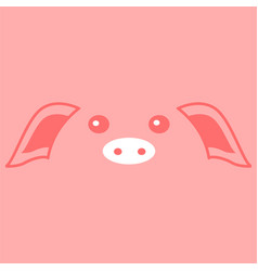 cute pink piggy face background vector image