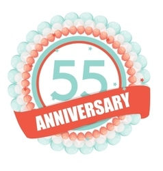 Cute Template 55 Years Anniversary with Balloons vector image