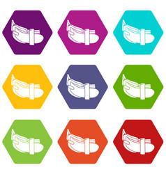 daily belt icons set 9 vector image