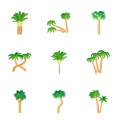 Different palm icons set cartoon style vector