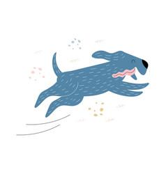 dog runs happy running vector image
