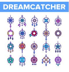Dreamcatcher amulet thin line icons set vector