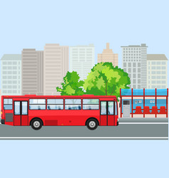 empty bus stop and bus with city skyline flat vector image