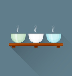 Flat triple chinese tea cups on stand icon vector
