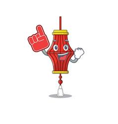Foam finger chinese paper lanterns on mascot vector
