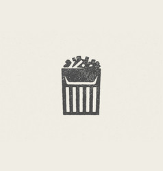 French fries silhouette in striped paper package vector