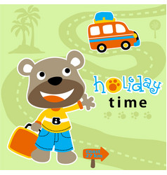 funny bear cartoon vacation vector image