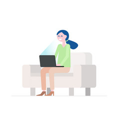 girl with the laptop at home on the couch vector image