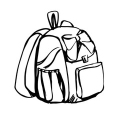 Girly school backpack black line sketch isolated vector