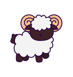 Goat farm animal cartoon white background vector