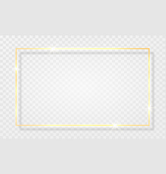 gold shiny glowing vintage frame with shadows vector image