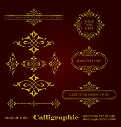 Golden calligraphic elements for design vector