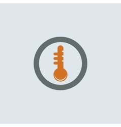 Gray-orange Thermometer Round Icon vector image