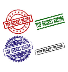 grunge textured top secret recipe stamp seals vector image