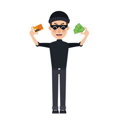 Hacker data with money credit card thief cyber vector