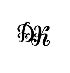 Hand drawn letters d and k for wedding logo vector