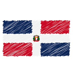 hand drawn national flag of dominican republic vector image