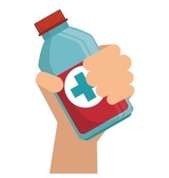 hand holding medication bottle vector image