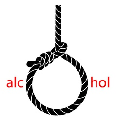 Hangmans noose with protest against alcohol vector