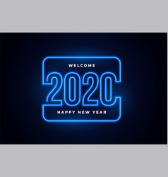 happy new year 2020 neon lights glowing background vector image