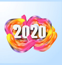 happy new year 2020colorful brushstroke oil vector image
