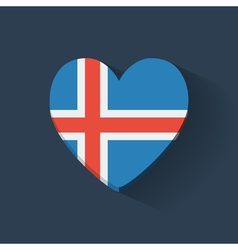 Heart-shaped icon with flag of Iceland vector image