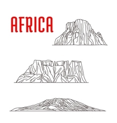 Historic landmarks and sightseeings of Africa vector