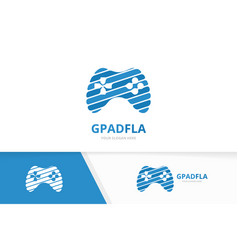 joystick logo combination gamepad symbol vector image
